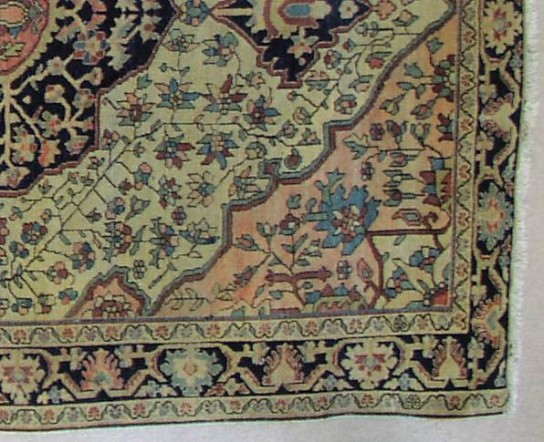 This is a shot of the corner of the rug showing the medallion and corner design with borders